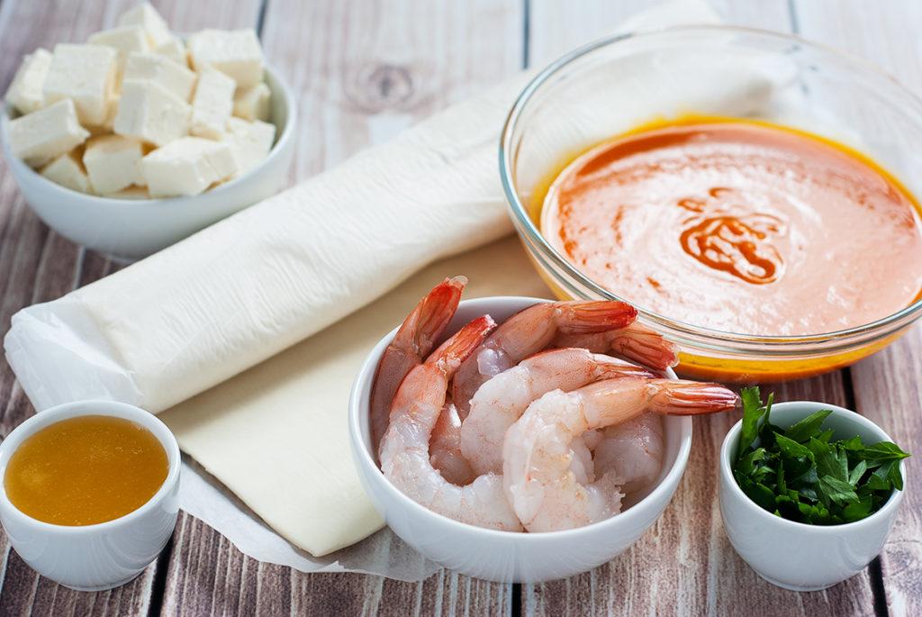 Quiche z krewetkami i sosem na bazie zupy dyniowej - produkty | lunchboxodkuchni.pl