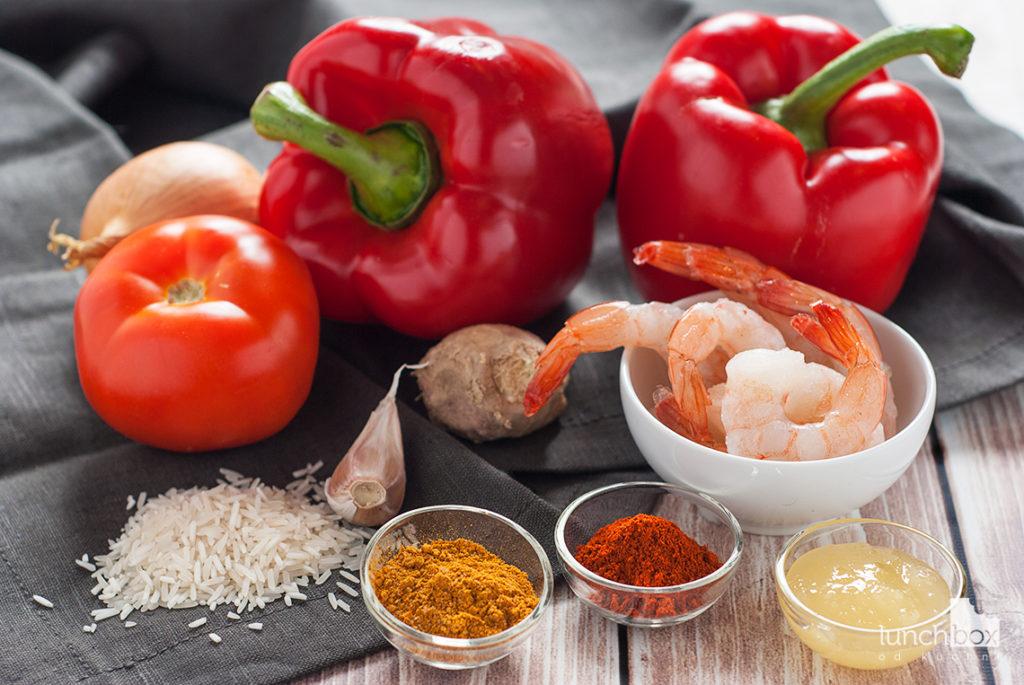 Krewetki w sosie paprykowo-imbirowym z ryżem - produkty | lunchboxodkuchni.pl