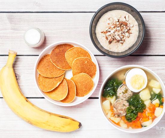Lunchbox: jaglanka z migdałami i cynamonem, placki jaglane z bananem i zupa jarmużowa na pulpetach mięsnych | lunchboxodkuchni.pl