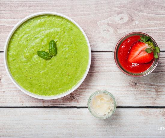 Lunchbox - pudding chia z musem rabarbarowo-truskawkowym oraz krem ze szparagów z pecorino | lunchboxodkuchni.pl